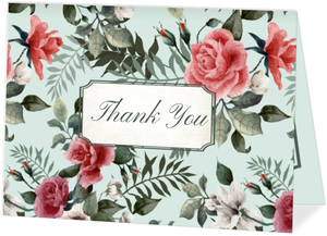 Beautiful Vintage Floral Wedding Thank You Card