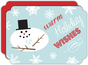 Blue Warm Wishes Snowman Business Holiday Card