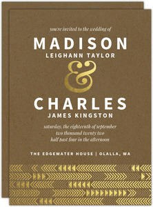 Kraft & Gold Arrow Faux Foil Pattern Wedding Invitation