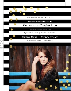 Modern Black and White Stripes Gold Confetti Graduation Invitation