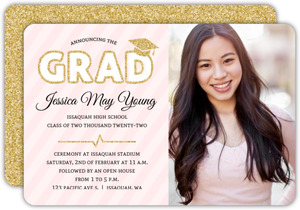 Faux Gold Glitter and Purple Graduation Invitation
