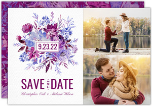 Elegant Purple Floral Save the Date Card
