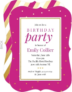 Bright Pink And Faux Gold Birthday Invitation