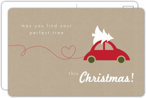 Red Car With Tree Christmas Card