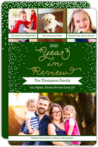 Faux Gold Foil Year in Review Holiday Photo Card