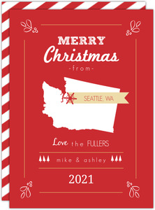 Red and White State Christmas Card