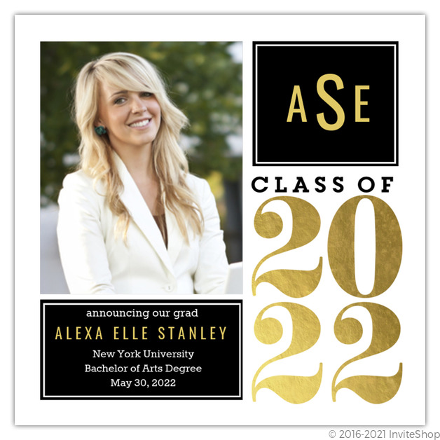 Gold foil monogram graduation announcement graduation announcements gold foil monogram graduation announcement filmwisefo