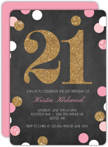 Sparkling Gold and Pink 21st Birthday Invitation