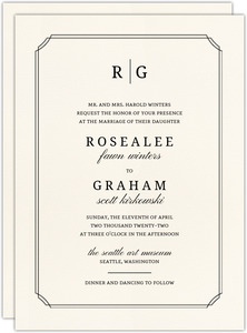 Double Frame Monogram Wedding Invitation