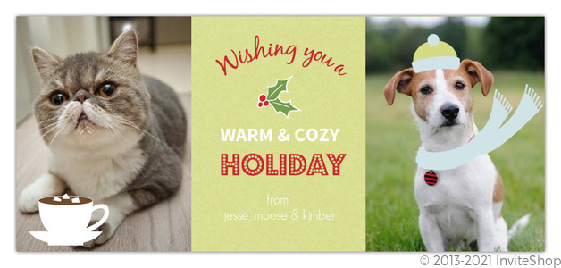 green holly pet holiday card - Pet Holiday Cards