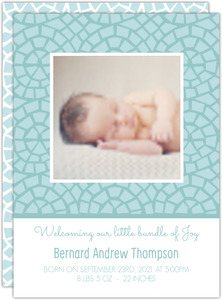 Simple Blue Mosaic Baby Birth Announcement