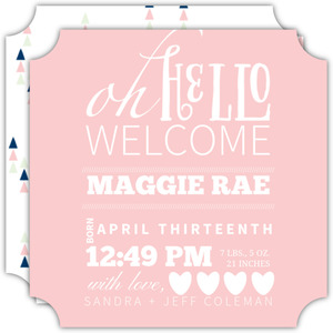 Typographic Hello Girl Birth Announcement