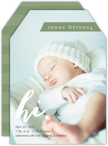 Green Whimsical Hi Boy Birth Announcement