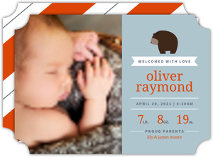 Modern Cuddly Bear Boy Birth Announcement