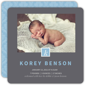 Elegant Blue Monogram Boy Birth Announcement