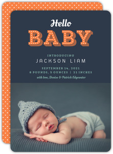 Navy Decorative Baby Boy Birth Announcement