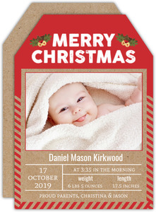 Unique Red Kraft Stripes Holiday Birth Announcement