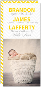 Yellow Chevron Pattern Boy Birth Announcement