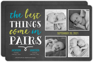 Cheerful Chalkboard Quote Twin Birth Announcement