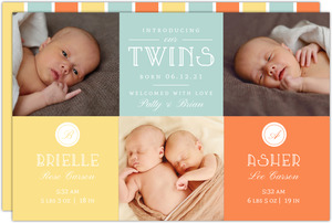 Modern Unisex Blocks Twin Birth Announcement