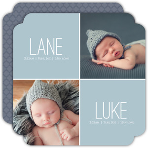Blue Four Blocks Twin Birth Announcement