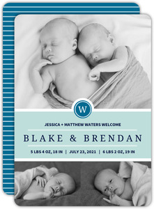 Blue Monogram Twin Birth Announcement