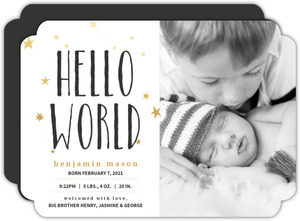 Faux Gold Stars Boy Birth Announcement