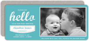 Turquoise Grunge Hello Sibling Birth Announcement