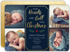 Full Hearts Christmas Birth Announcement