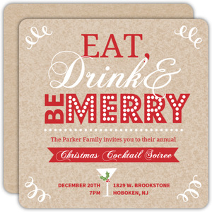 Whimiscal Be Merry Kraft Paper Holiday Party Invitation