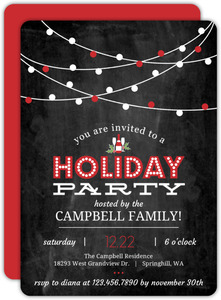 Hanging Red Lights Chalkboard Holiday Party Invitation - Lena