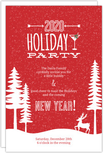 Festive Red Snow Scene Holiday Party Invitation