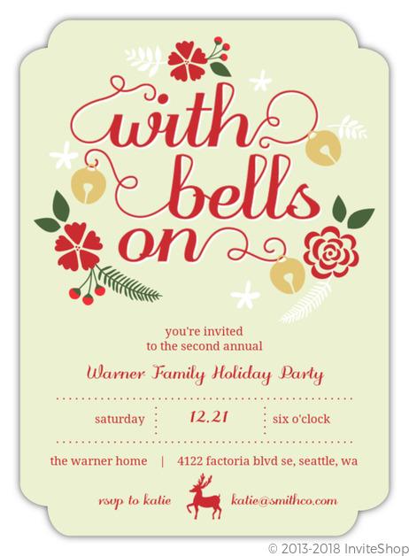 Jingle bell bash party invitation holiday invitations