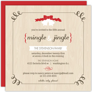 Soft Tan Woodgrain Jingle Bells Holiday Party Invitation