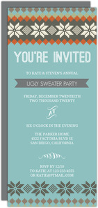 Fair Isle Pattern Ugly Sweater Holiday Party Invitation