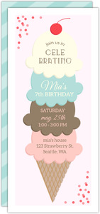 Whimsical Ice Cream Stack Birthday Party Invitation