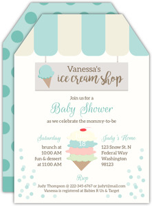 Sweet Mint Ice Cream Shop Baby Shower Invitation