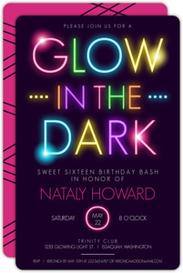 Colorful Glow In The Dark Brithday Party Invitation