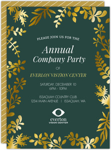 Gold Foil Floral Frame Business Party Invitation