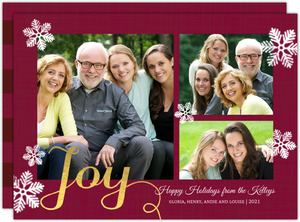Faux Gold Joy Holiday Photo Card