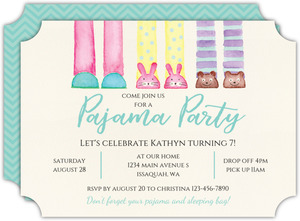Animal Slippers Slumber Party Birthday Invitation