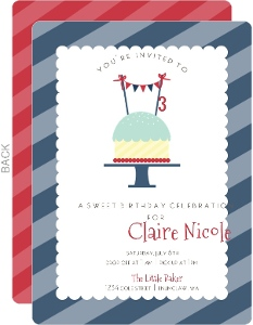 Red White and Blue Cupcake Birthday Party Invitation