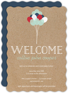 Red White and Blue Balloons Sip and See Party Invitation