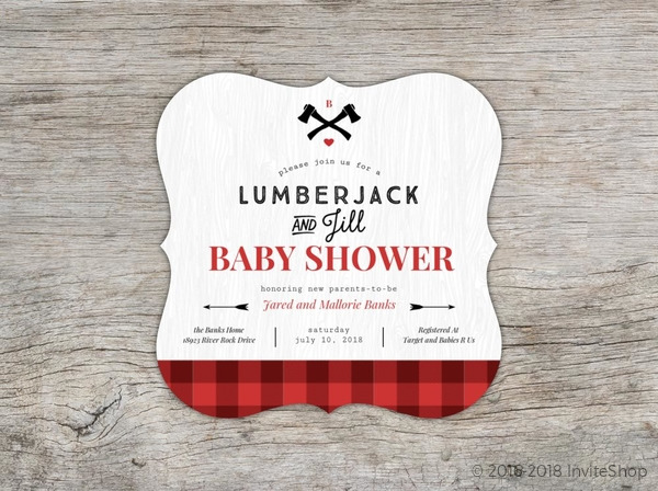 red buffalo plaid baby shower invitation baby shower invitations