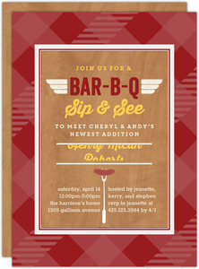 Retro Grill Sip and See Party Invitation