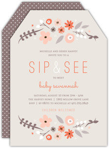 Neutral Florals Sip and See Party Invitation