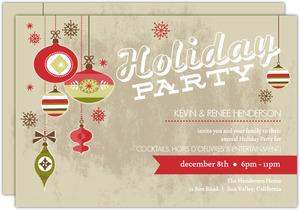 Vintage Festive Ornaments Holiday Party Invitation