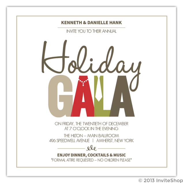 Festive formal wear holiday party invitation holiday invitations festive formal wear holiday party invitation stopboris Image collections