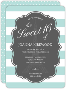 Cute Striped Paris Sweet 16 Birthday Invitation