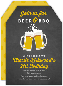 Beer & BBQ Chalkboard 21st Birthday Invitation